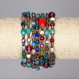 Multi-Colored Coil Stretch Bracelet Boho Festival
